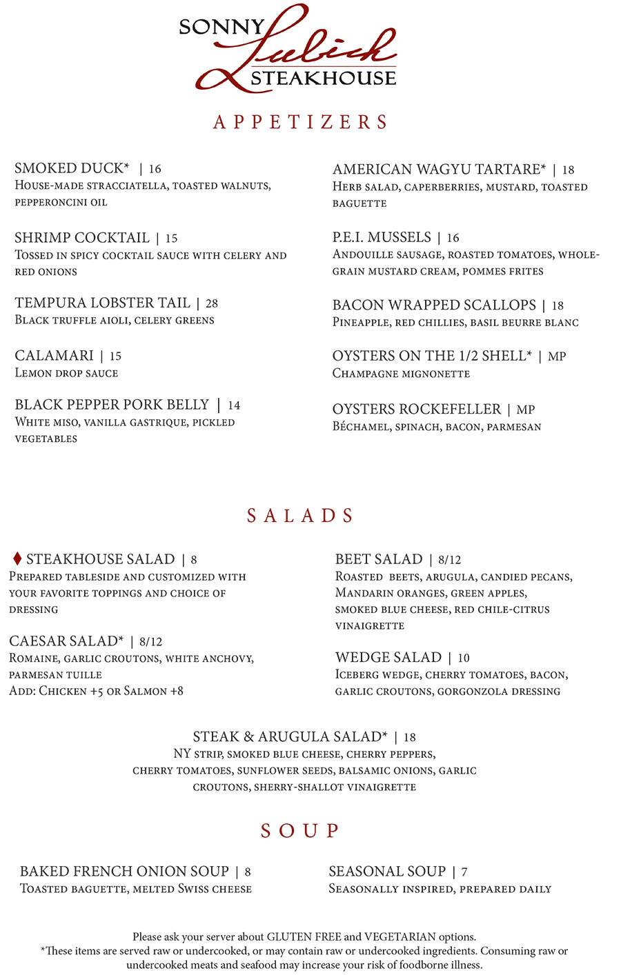 Appetizers, Salads and Soups - Sonny Lubick Steakhouse Dinner Menu
