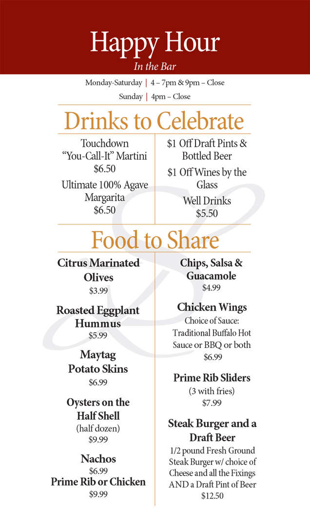 Sonny Lubick Steakhouse Happy Hour Menu