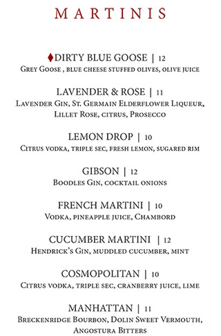 Martinis - Sonny Lubick Steakhouse Bar Menu