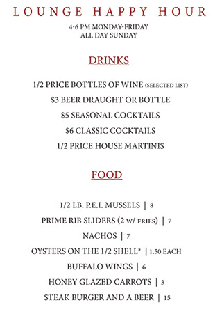 Happy Hour - Sonny Lubick Steakhouse Bar Menu
