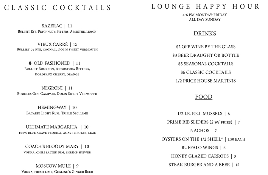 Cocktails and Happy Hour - Sonny Lubick Steakhouse Bar Menu